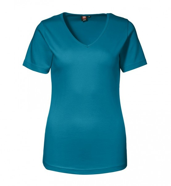 Damen Interlock T-Shirt V-Ausschnitt